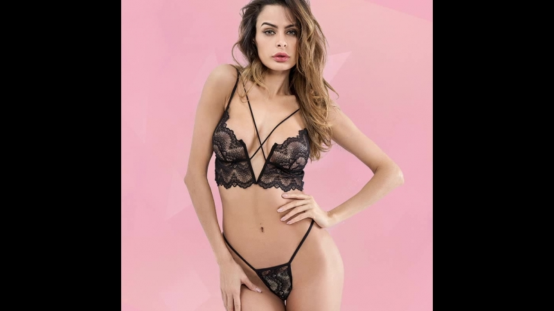 Strappy Floral Appliques Bra and Thong Lingerie Set