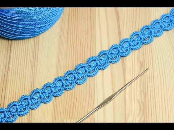 Ленточное кружево с пышными столбиками - вязание крючком - Crochet