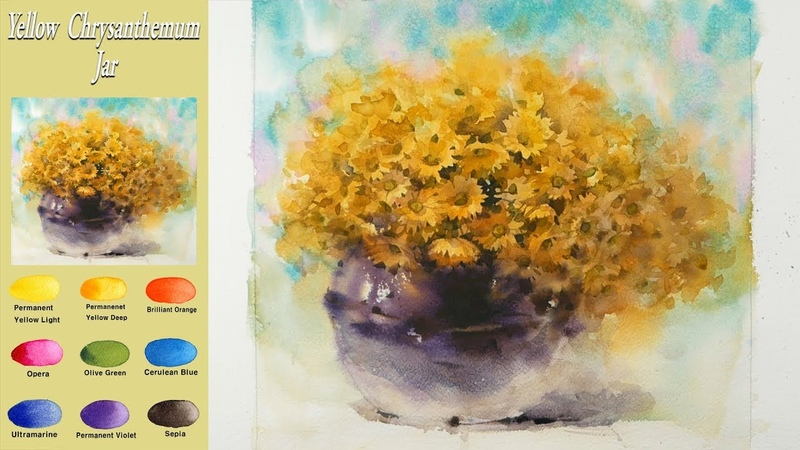 Drawing Flower watercolor - Yellow chrysanthemum jar (wet-in-wet. Fabriano rough) NAMIL ART