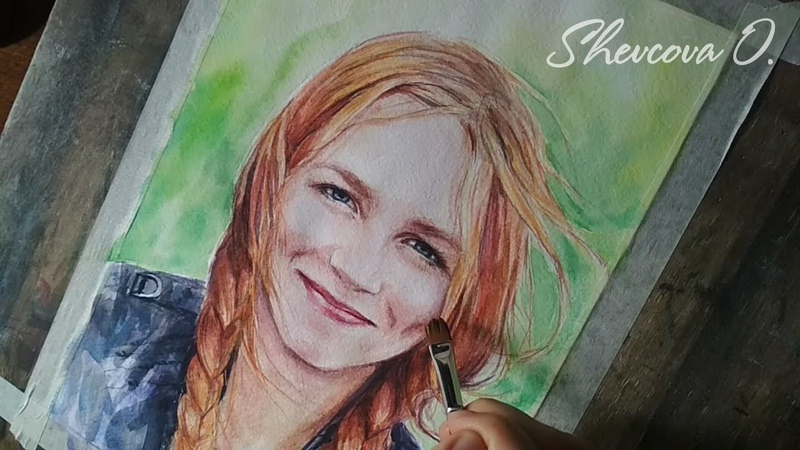 Портрет девушки акварелью. Speed paint watercolors. Speedart. Time Lapse