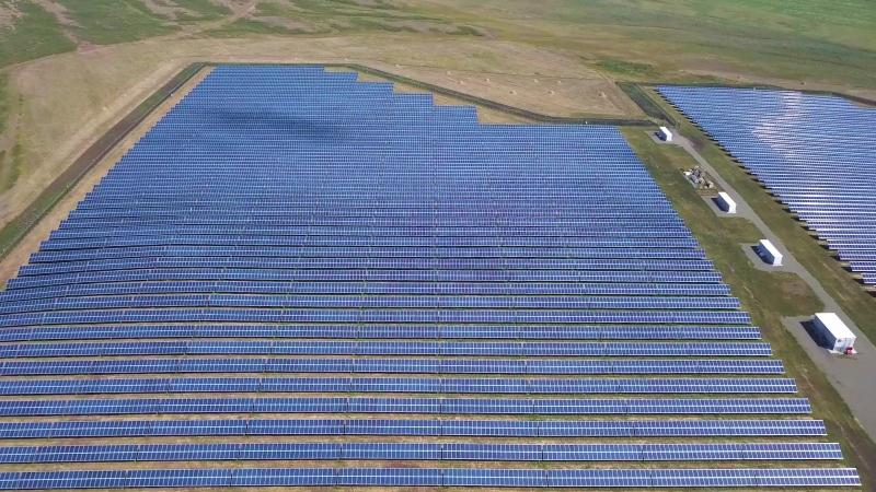 Solar power station Solar panels drone view