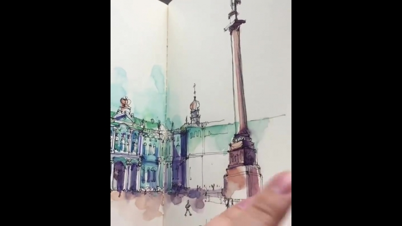 The beautiful watercolor sketchbook by Gavrilova Kristina (@xtina_gavrilova_art)