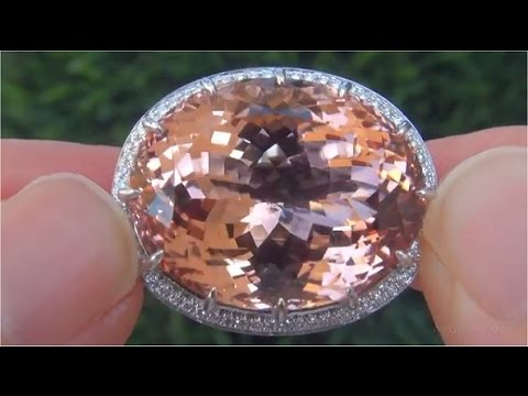 GIA Certified Orange Pink Morganite Diamond Cocktail Ring 18k Gold 41.72 TCW - C482