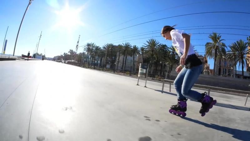Super fast skating through Barcelona on F4 Inline skates.