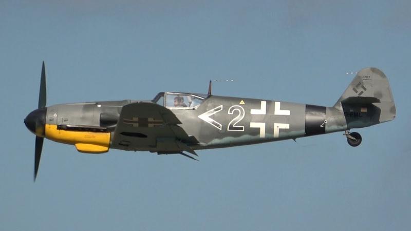 Germany's only airworthy Messerschmitt Bf 109 G-14 Schwarze 2 Great Daimler Benz DB 605 Sound!