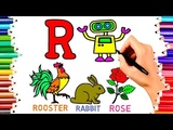 Teach Children to Draw Alphabet R for Robot Coloring Book Kids Learn Paint Colors Pages Video#206