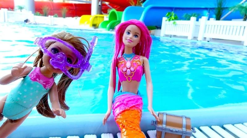 Куклы в настоящем аквапарке. Русалка и Челси ищут сокровища