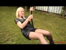 Playground Fun in pantyhose leatherdress and HighHeels