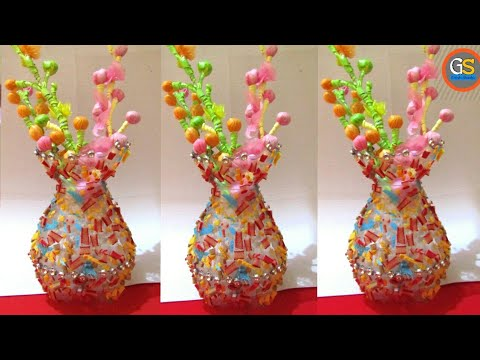 Empty Plastic Bottle Vase Making Craft Water Bottle Recycle Flower Vase Art Decoration Idea