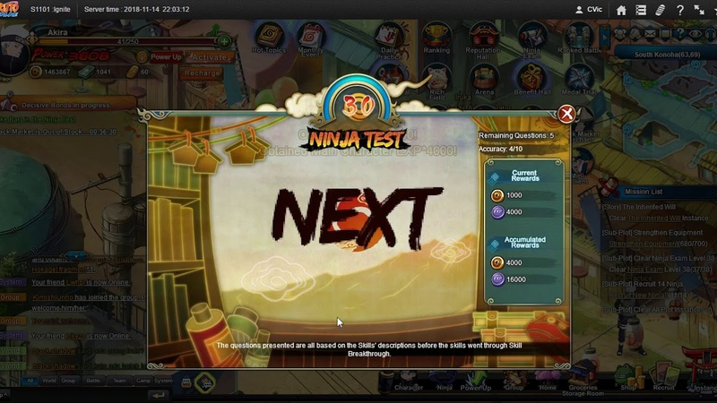 Naruto ナルト Online NS D02 1st Attempt and gained 10 RAs in NT in the new server