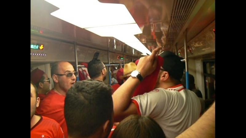 Болельщики Туниса в поезде метро. Москва. Перед матчем Бельгия - Тунис. Часть 1