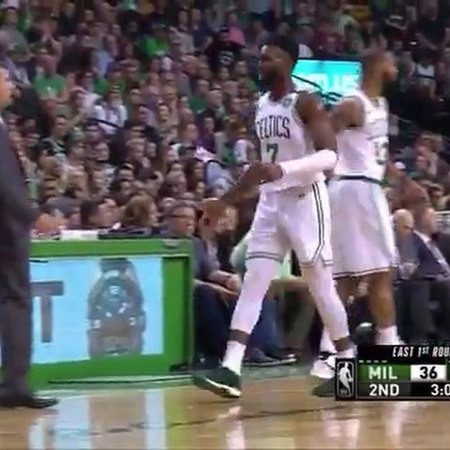 Jaylen Brown says to athletic trainer what appears to be: