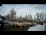 1-й день сборки Выставочного дома из бруса Ярославль