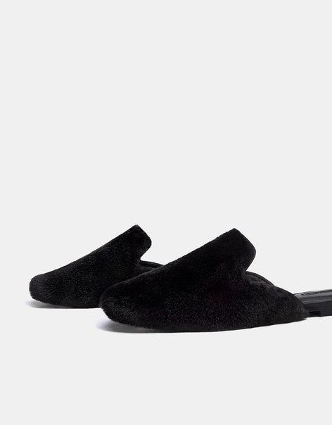 Туфли-мюли с отделкой из искусственного меха