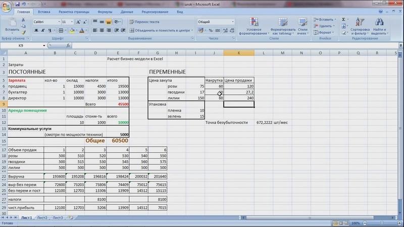 Расчет бизнес идеи в Excel