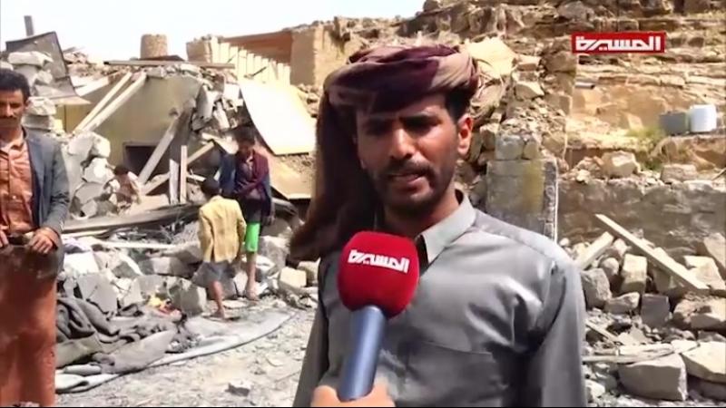 Последствия бомбёжек саудитами округа Баким, Саада.