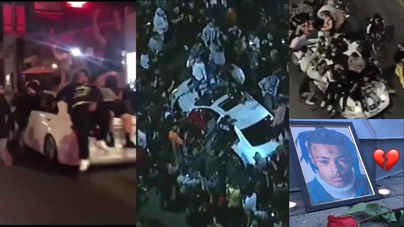 Xxxtentacion Memorial Gone wild in Melrose - Xxxtentacion Fans Riot in Melrose