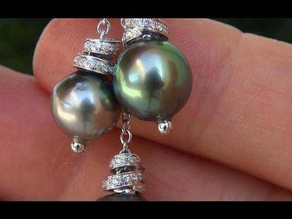 Estate Natural South Sea Tahitian Pearl Diamond 14k White Gold Necklace - C569