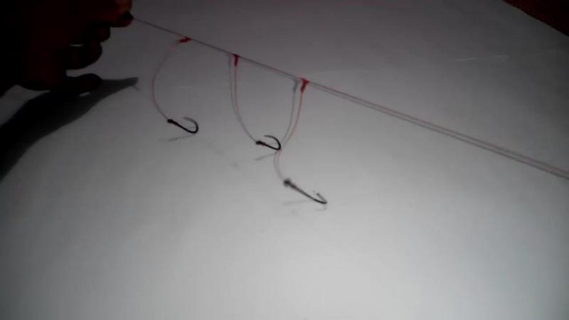 Фидер, донка. Вяжем поводок с тремя крючками без использования вертлюжков (Membuat rangkaian 3 mata kail pancing DASARAN_GLOSOR