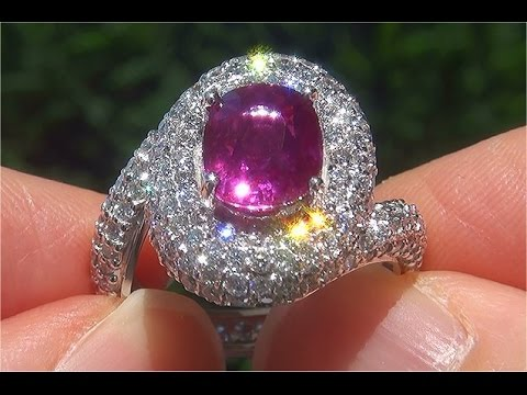 GIA Certified UNHEATED Natural VS Clarity Ruby Diamond PLATINUM Estate Ring - C814