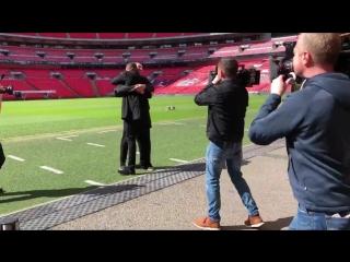 Wladimir Klitschko and Anthony Joshua at Wembley Stadium on April 29, 2018 in London, England. #RESPECT