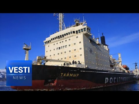 Russia's Nuclear Powered Icebreaker Begins Its Service Clears Up Ice Along Yenisei River