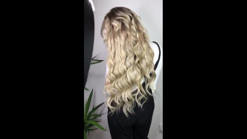 Роскошное сложное окрашивание красителем Kydra на нарощенные волосы