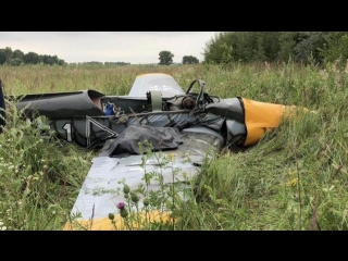 Момент падения легкомоторного самолета в Подмосковье попал на видео