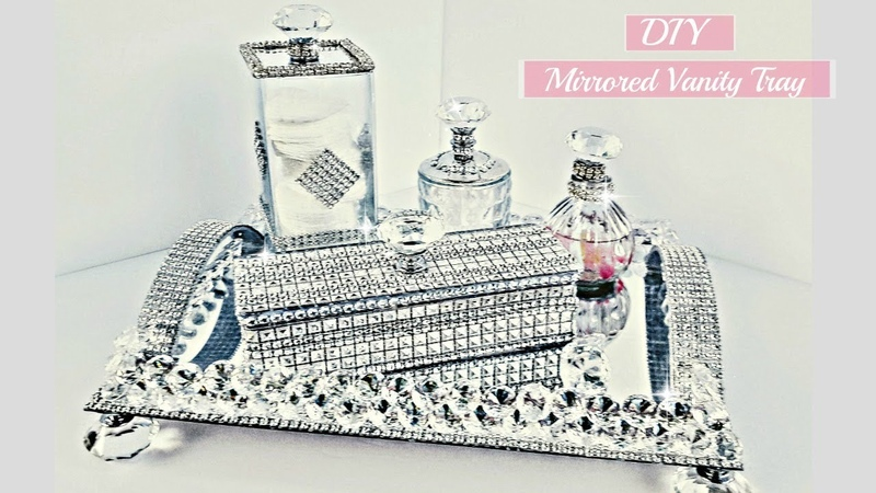 DIY Dollar Tree Room Decor 5 Piece Mirror Vanity Tray Set So Glam with BLING