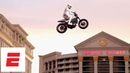 Travis Pastrana honors Evel Knievel by jumping Caesars Palace fountain in Las Vegas | ESPN