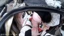 Авария Lamborghini,суперкар разрезало пополам об столб,освобождение одного из пострадавших