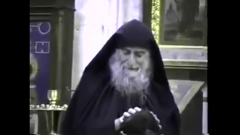 Преподобный Гавриил Ургебадзе в храме (1994 год)