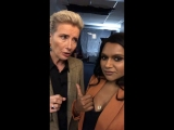 "Emma Thompson and Mindy Kaling on set ""Late night """