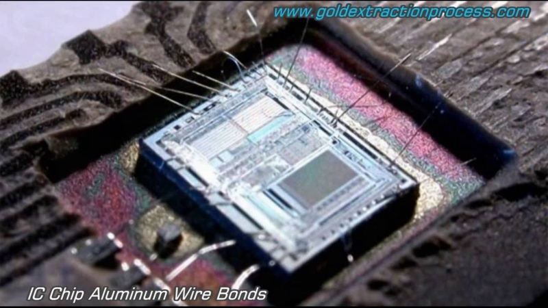 Inside ic chip aluminum wire bond Integrated circuits chips.