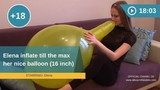 Elena inflates her balloon till the max and teath it