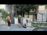 Emily Osment &amp Mallory Jansen outside the Sunset Towers Hotel