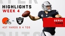 Derek Carr Goes Off for 437 Yards 4 TDs vs. Cleveland