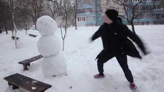 Прикол Как отпиздить снеговика Юмор