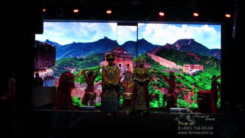 Китайские барабанщики и китайские львы на праздник Москва - выступление на конкурсе Мисс Азия-Россия