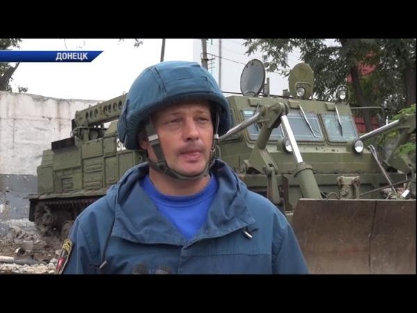 В Ленинском районе Донецка методом подрыва осуществили демонтаж аварийного здания