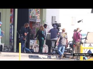 Brie larson and samuel l. jackson film scene for 'captain marvel'