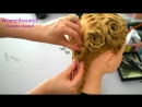 Updo hairstyle for long hair with braided flowers