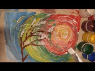 Радужное небо мастер-класс по живописи