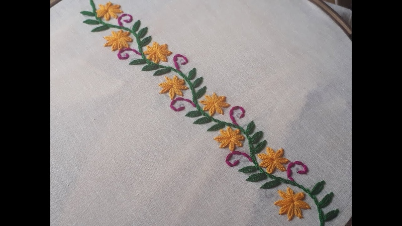 Hand embroidery flower border design | Border design tutorial
