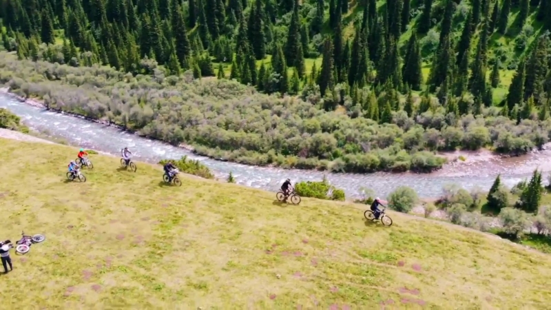 Kazakhstan Almaty Tekes river valley amazing and stunning views bike trip drone video 28.07.2018