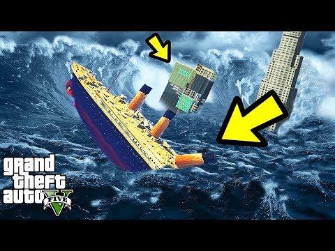 GTA 5 САМОЕ БОЛЬШОЕ ЦУНАМИ В МИРЕ ПРОТИВ ТИТАНИКА КТО КОГО Титаник или Цунами