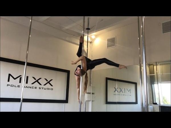 Видео танцевальная связка элементов на пилоне от нашего тренера pole fitness Саши Макаровой