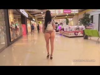 Shopping time short skirts without panties in the mall