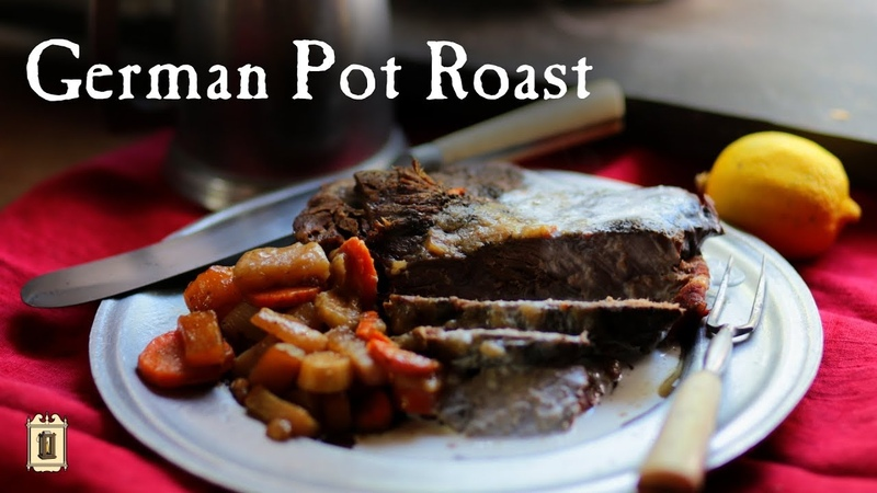 1780's Dutch Oven Pot Roast with Bacon, Sour Cream (?), and Carrots!