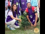 Juhi Chawla Planting 100 saplings with KKR team and many more actress.